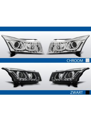 tube light koplampen chevrolet cruze chroom zwart