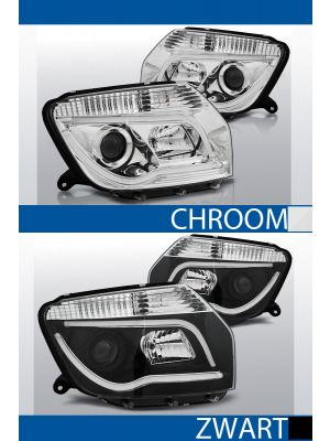tube light koplampen dacia duster chroom zwart