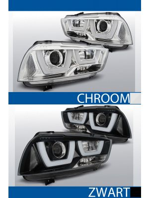 tube light koplampen dodge charger lx ii chroom zwart