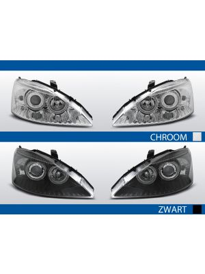 ford focus 2011-2014 koplampen angel eyes in chroom en zwart