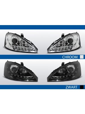 ford focus koplampen met led drl in chroom of zwart
