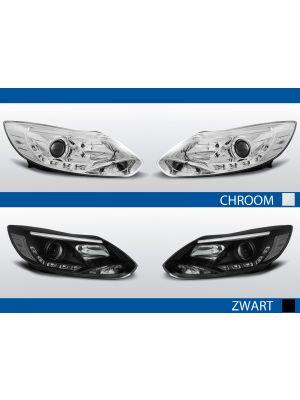 tube light koplampen ford focus mk3 chroom zwart