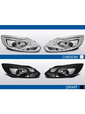 tube light koplampen ford focus mk3 chroom zwart