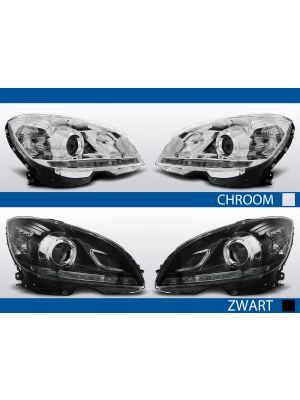 led drl koplampen mercedes c-klasse chroom zwart inclusief xenon