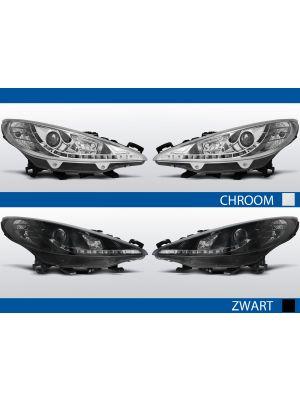 led drl koplampen voor peugeot 207 in chroom of zwart