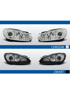 led drl koplampen voor vw golf 6 in chroom of zwart