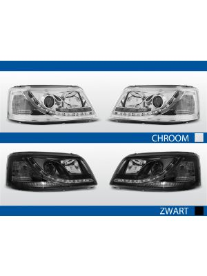 led drl koplampen vw t5 chroom zwart