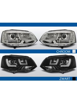 U type real drl koplampen vw t5 chroom zwart