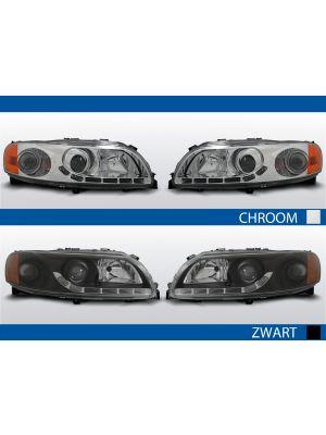led drl koplampen volvo s60/v70 chroom zwart