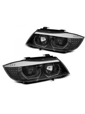 Koplampen | BMW | 3-serie 05-08 4d sed. E90 / 3-serie 08-12 4d sed. E90 LCI / 3-serie Touring 05-08 5d sta. E91 / 3-serie Touring 08-13 5d sta. E91 LCI | 3D dual Angel Eyes | zwart