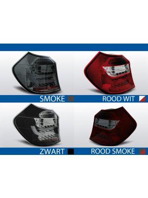 achterlichten bmw 1serie e81 rood/wit, rood/smoke, smoke of zwart