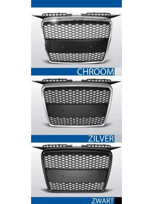 grillen set rs type audi a3 8p chroom/zwart, zilver of zwart