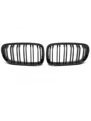 Nieren | BMW | 3-serie 08-12 4d sed. E90 LCI / 3-serie Touring 08-13 5d sta. E91 LCI | M-Look | dubbele spijlen | ABS Kunststof zwart Glanzend
