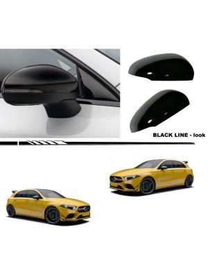 Spiegelkappen | Mercedes | A-klasse 18- 4d sed. / A-klasse 18- 5d hat. / CLA-klasse Coupé 19- 4d sed. | V177 / W177 / C118| glanzend zwart