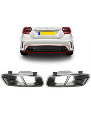 Uitlaatsierstukken | voor AMG diffuser | Mercedes-Benz | A-Klasse W176 / CLA-Klasse C117 | A45 AMG-Look | set links / rechts