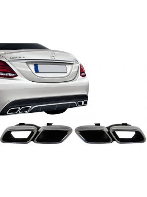 Uitlaatsierstukken | voor AMG diffuser | Mercedes-Benz C-Klasse W205 | AMG-Look | set links / rechts