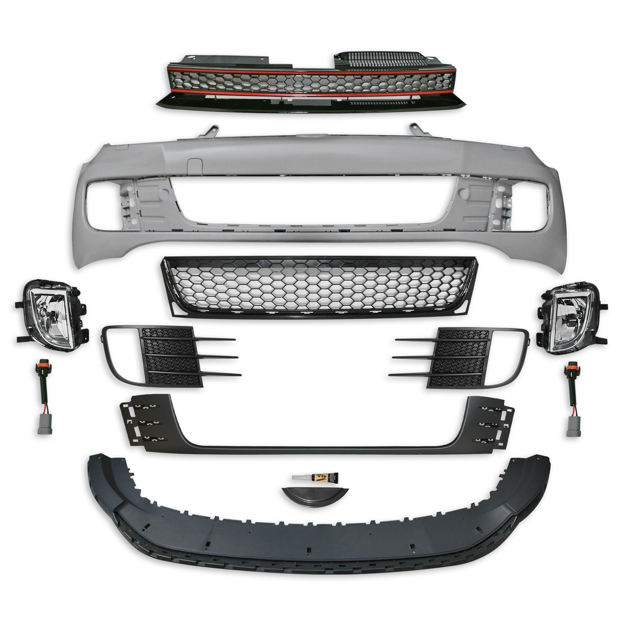 Voorbumper | VW Golf 6 VI 2008-2012 | GTI - Look | Bumper met grille | ABS Kunststof